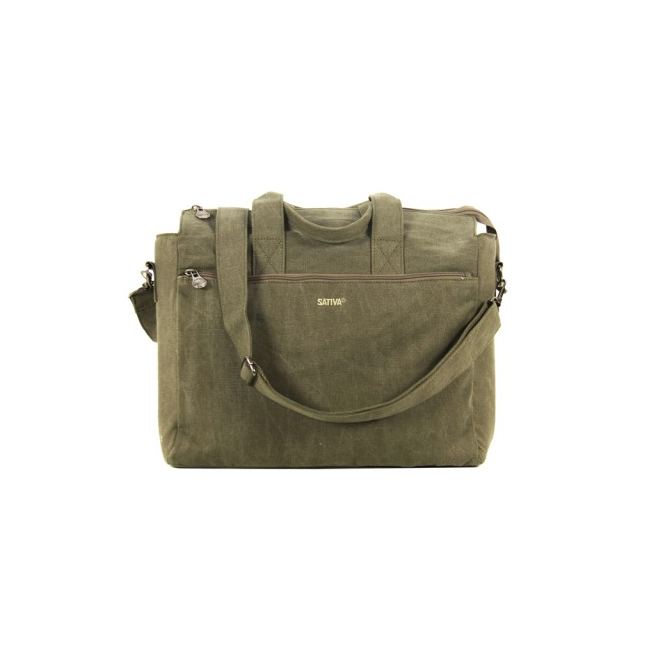 Hemp Laptop Bag With Handle And Shoulder Strap - Khaki