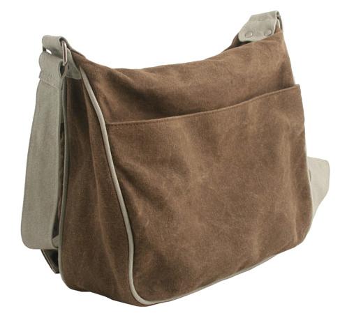 Hemp Two Tone Shoulder Bag - Brown / Khaki