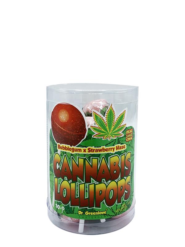 Buy Cannabis Lollipops Bubble Gum x Strawberry Haze – 10 pack