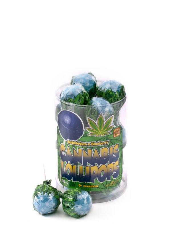 Buy Cannabis Lollipops Bubble Gum x Blueberry – 10 pack